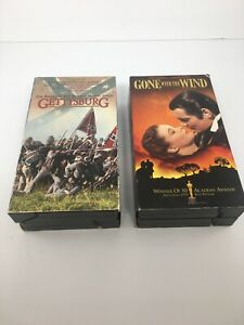 VHS-LOT-GONE-WITH-THE-WIND-1939-AND-GETTYSBURG-1993