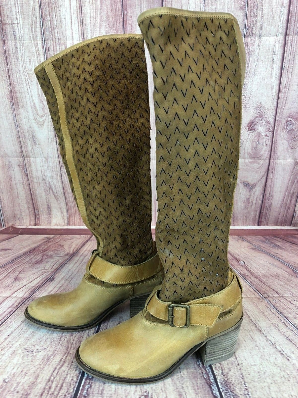 Sixty Seven Anthropologie Tan Leather Tall Cut Out Boot Women 37   6.5 SPAIN d4c