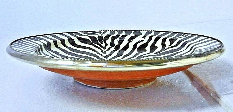 Moroccan Ceramic Zebra Striped Dessert Bowl with Silver Metal Trim