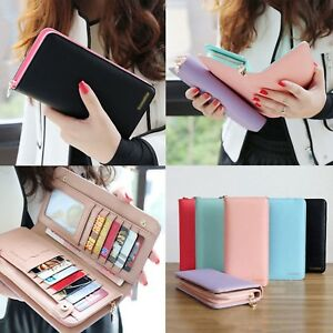 093451ac276 Image is loading Fashion-Women-Leather-Bifold-Wallet-Clutch-Card-Holders-