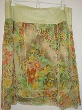 ICE green brown floral zebra print 100% silk flowy paneled pieced skirt-10