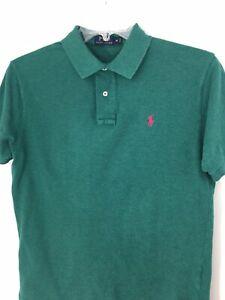 Ralph-Lauren-Mens-Medium-Dark-Green-Polo-Shirt-Red-Pony