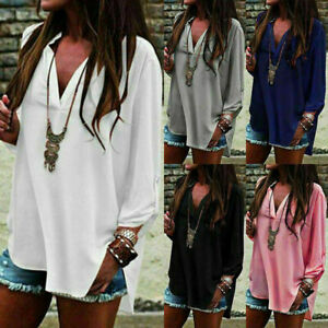 Women-Long-Sleeve-Chiffon-T-Shirt-Ladies-Summer-Loose-Tops-Blouse-Plus-Size-Hot