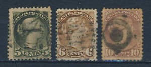 1870/93 Canada VF used 3 QV stamps 5,6 and10 cents YT # 31a,32 and 34