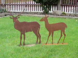 Edelrost-Hirsch-Reh-Tier-Jaeger-Rentier-Rost-Metall-Rost-Tiere-Weihnachtsdeko