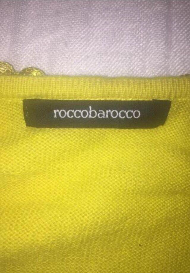 ROCCOBAROCCO T-SHIRT GIALLA TG. 46 46 46  APPLICAZIONI PERLE SUI BORDI 11f00c
