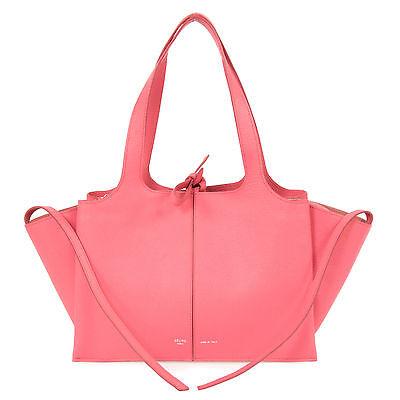 Celine Tri-Fold Shoulder Bag | Coral Pink Grained Calfskin Leather