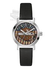 Harley-Davidson Womens B&S Logo with American Flag Decal Watch 76L174 By Bulova