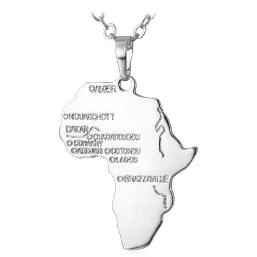 Unisex Africa Continent Map Pendant Hip Hop Necklace Gold Plated Vintage Jewelry