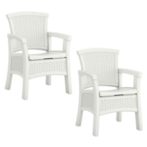 Suncast Elements Durable Outdoor Patio Dining Chair with Storage, White (2 Pack)