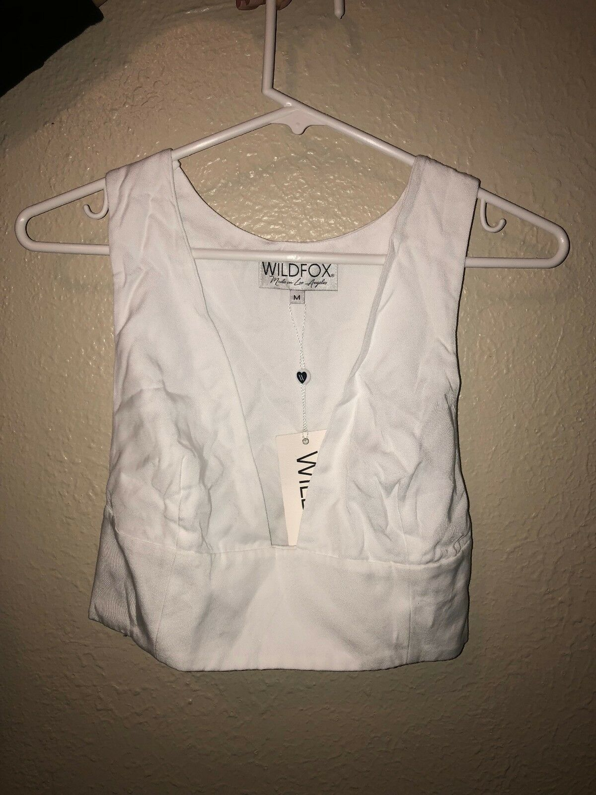 WILDFOX Crop Top Racerback - Weiß - Medium - NEW WITH TAGS