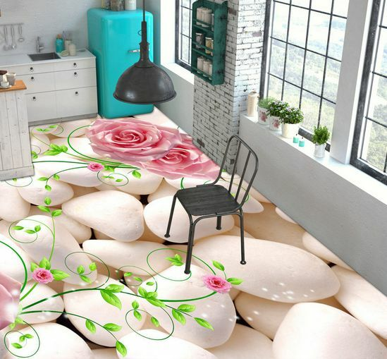 3D Beauty Stone Flower Floor WallPaper Murals Wall Print Decal 5D AJ WALLPAPER