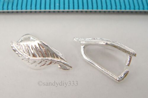 2x STERLING SILVER BRIGHT LEAF PENDANT PINCH BAIL CLASP 12.2mm #1668