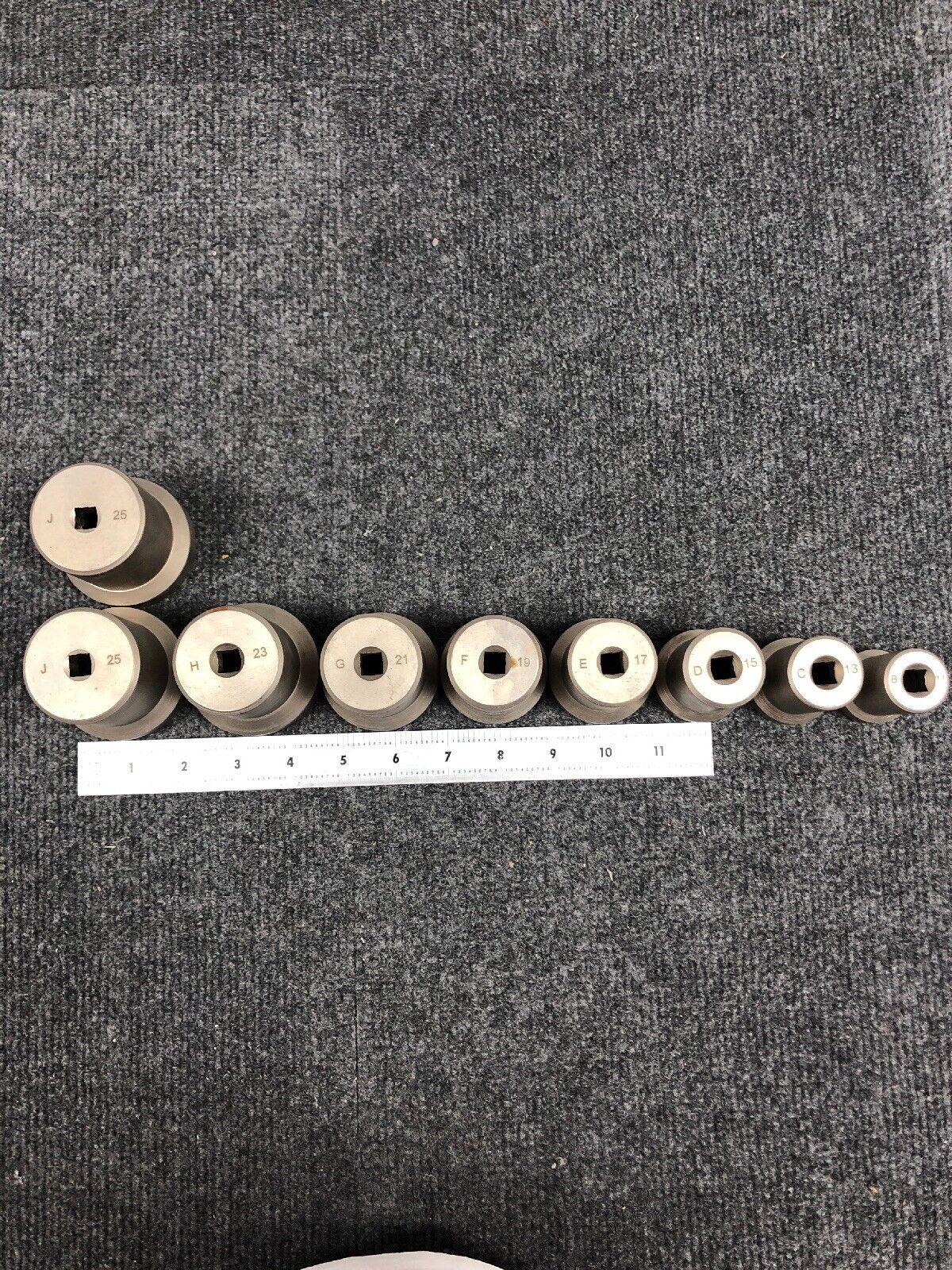 9 Pc LOT STNA Jam Nut Sockets- B11, C13, D15, E17, F19, G21, H23, J25 (2)