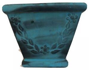Glazed Terra Cotta Pottery Tapered Square Planter Blue Gold