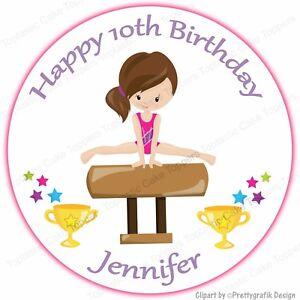 Image Is Loading Personalised Gymnastics Girl Vault Round Edible Icing Birthday