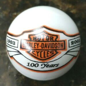 Rare-Harley-Davidson-100th-Anniversary-Orange-and-Black-Logo-on-White-1-034-Marble