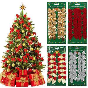 12pcs-Bowknot-Fiocco-Decorazione-Albero-Natale-da-appendere-decorazione-Natale-Regalo-Decor-UK