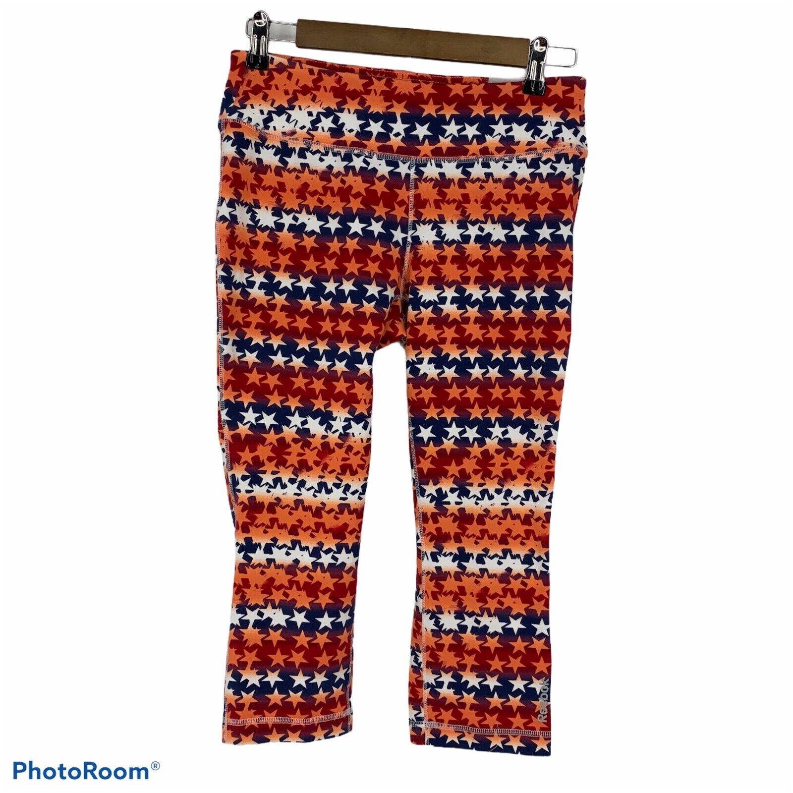 Reebok Stars Stripes Capri Leggings Stretch Cotton Tight Fit Size M