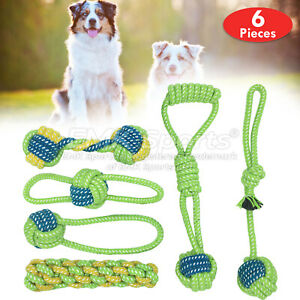 COTTON-ROPE-TOYS-DOG-PET-DOG-PLAYING-ROPE-DUMBBELL-UK-STOCK-SETS-6-PIECES