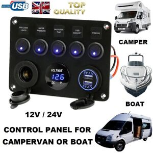 Details about 12V 24V Fuse Box 2 USB control panel Charger Motorhome Boat  Self Build Camper