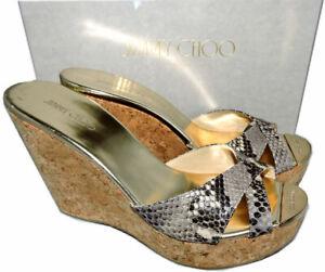 a5ca3446c97 Details about Jimmy Choo Cork Wedge Sandals Platform Espadrilles Perfume  Shoes 42 - 10 NEW