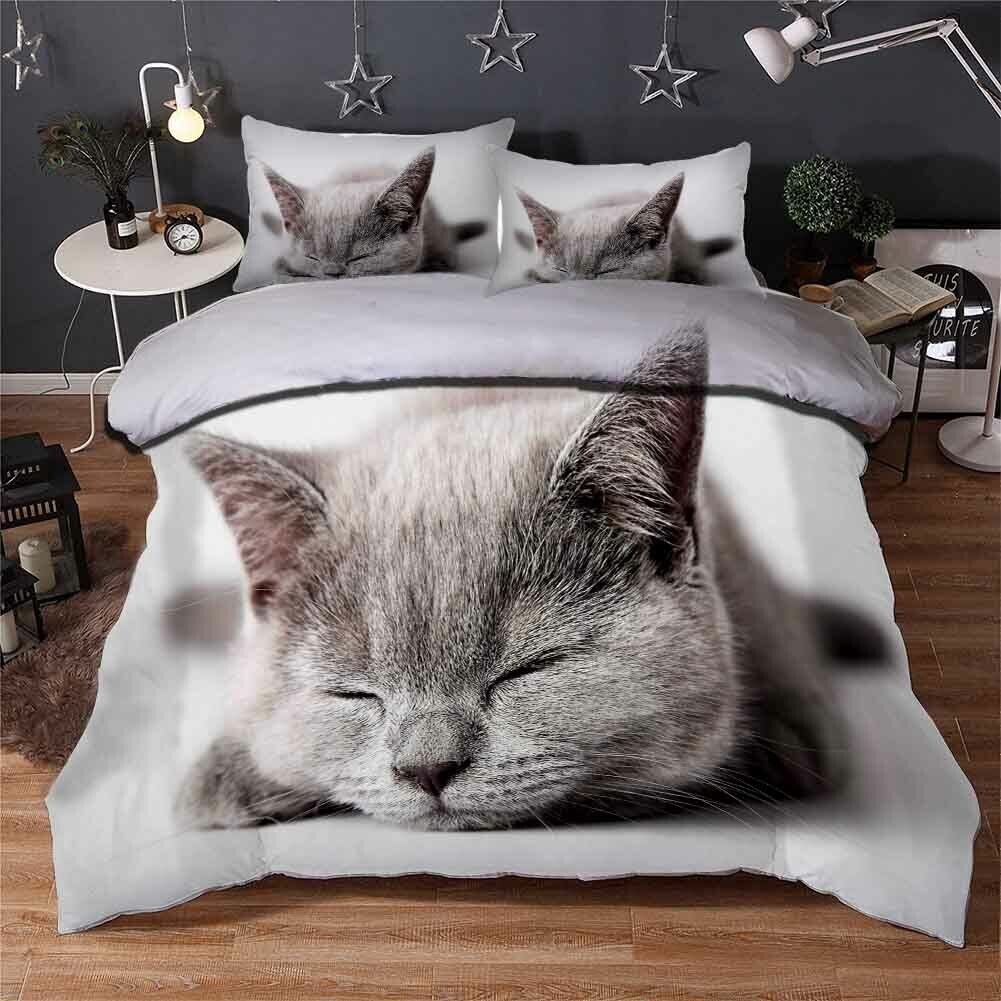 Sleeping Nice Cat 3D Printing Duvet Quilt Doona Covers Pillow Case Bedding Sets