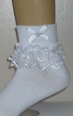 GIRLS WHITE FRILLY LACE SOCKS SIZE LOTS OF SIZES WHITE