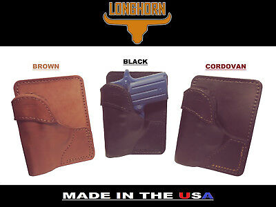 LONGHORN LEATHER KIMBER MICRO 9 W// CT LASER GRIPS FORMED TUCKABLE IWB HOLSTER