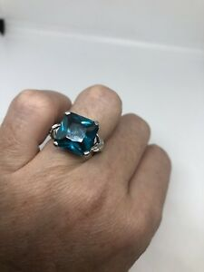 Deco-Genuine-Blue-Fluorite-And-White-Sapphire-Vintage-925-Sterling-Silver-Ring
