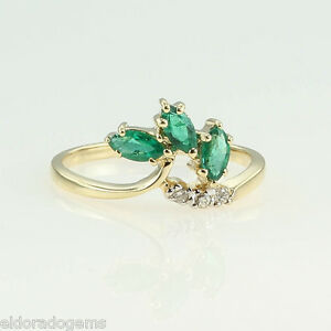 LADY-S-1-00-CT-EMERALD-amp-DIAMOND-COCKTAIL-RING-14K-YELLOW-GOLD-SIZE-US6-5