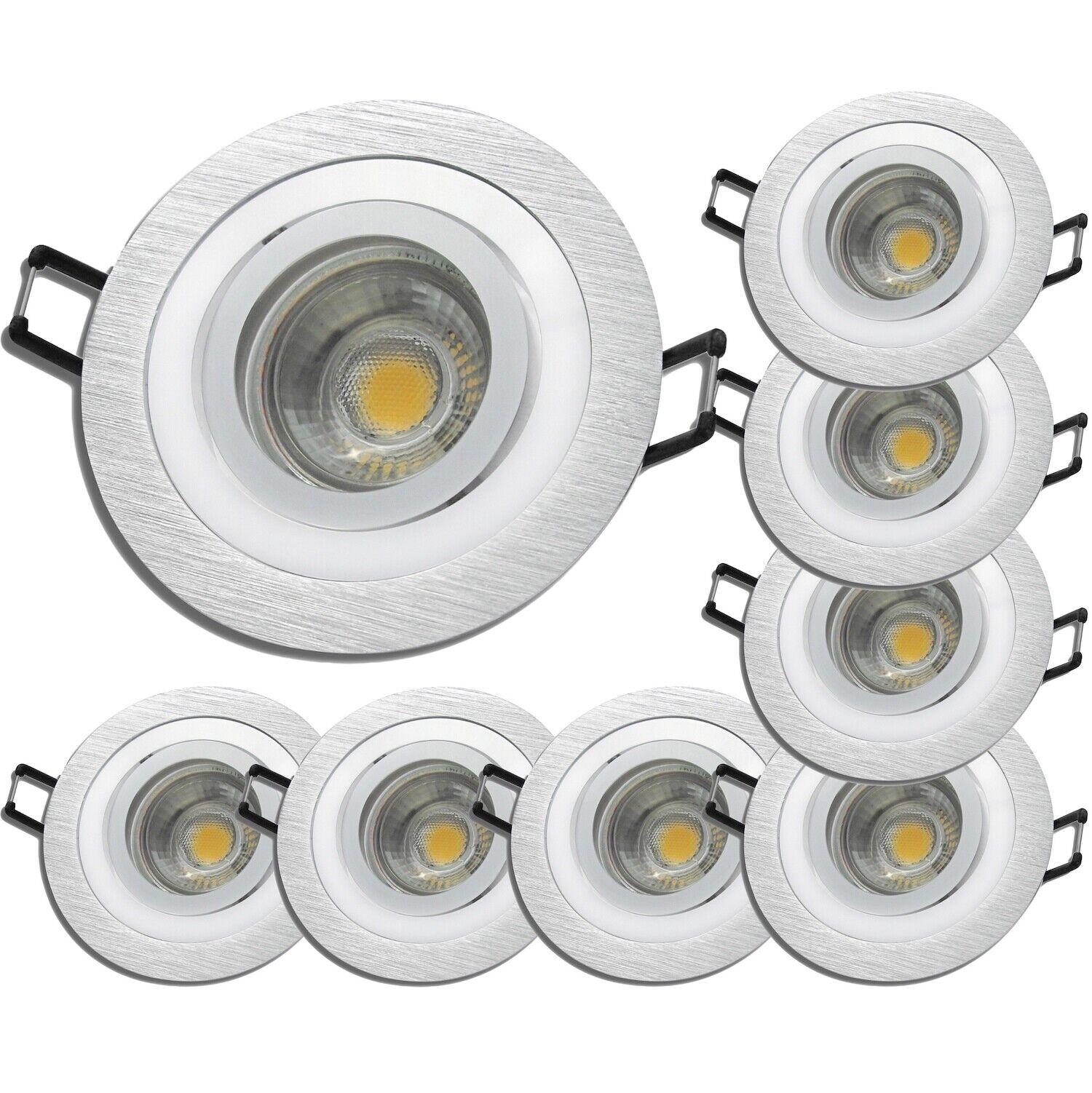 8 x Einbaustrahler Lisa   LED   5W   400Lumen   220V   EEK A+   Silber   Alu geb