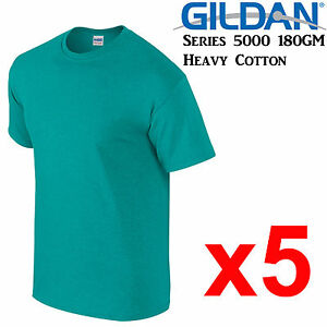 Gildan-T-SHIRT-Antique-Jade-Green-blank-tee-S-M-L-XL-2XL-big-Men-039-s-Heavy-Cotton