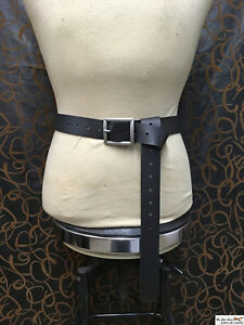 Medieval-leather-belt-with-massive-square-buckle-black-or-brown-SCA-LARP