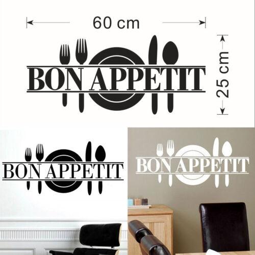 Removable Kitchen Decor Bon Appetit Decals Vinyl  Dining Room Wall Sticker Black