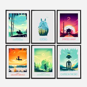 Image is loading Set-of-Six-Studio-Ghibli-Movie-Posters 9b4442241e