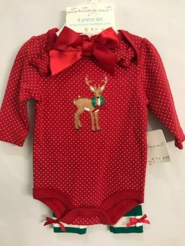 SALE Reindeer Polka Dot 4 PC CHRISTMAS Set NWT STARTING OUT Infant 3 Months