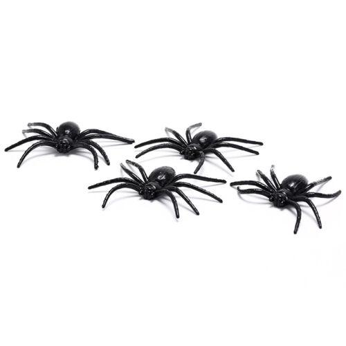 4Xblack en plastique araignée drôle fausses araignées fête d/'halloween haOP