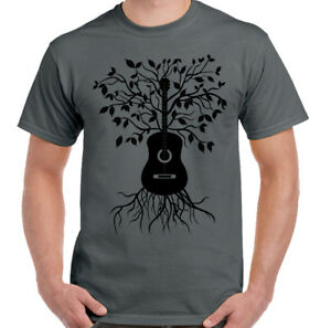 Details about Acoustic Guitar Tree - Mens T-Shirt Electric Bass Amp Strings  U2 Rock Music