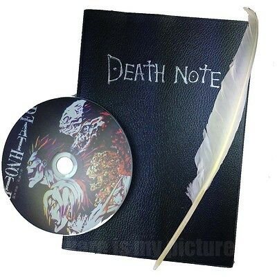 Death Note Cosplay 3 Pcs Notebook & CD & Feather Pen Japanese Deathnote Book A03