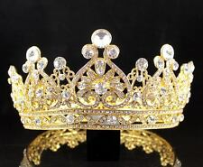 VINTAGE FULL CROWN  AUSTRIAN CRYSTAL RHINESTONE TIARA PAGEANT PROM T12159G GOLD