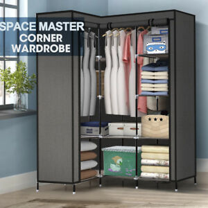 Large Portable Corner clothes Closet Wardrobe Storage Organizer with Shelves NEW 766008436561