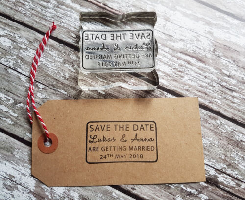 PERSONALISED SAVE THE DATE RUBBER STAMP WEDDING ENGAGEMENT CELEBRATION PARTY
