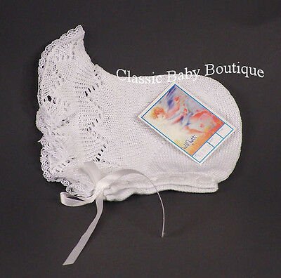 NWT Will'Beth White Knit Lace Baby Bonnet Newborn Girls Boutique Ribbon