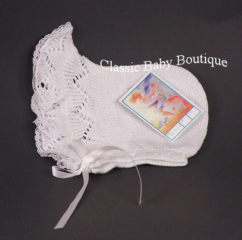 NWT Will/'Beth White Knit Lace Baby Bonnet Newborn Girls Hat Boutique Ribbon