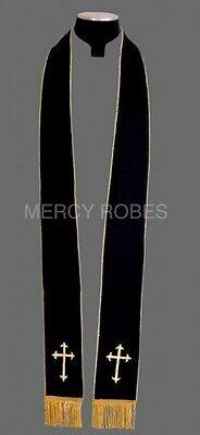 New REVERSIBLE CLERGY STOLE Black/Gold-White/Gold, Vestment, Christian