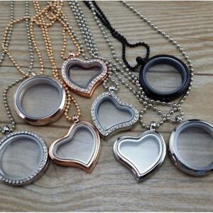 Hot 25mm Round Crystal Glass Memory Living Locket Necklace For Floating Charms