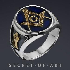 Freimaurer-Blue-Lodge-Ring-925-Sterling-Silber-Ring-mit-24K-vergoldeten-Teilen