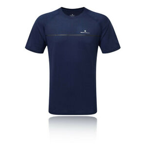 Ronhill-Uomo-tutti-i-giorni-manica-corta-T-Shirt-Tee-Top-Blu-Navy-Sport-Running