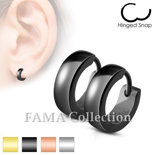 FAMA Stainless Steel Classic Plain Dome Hoop Huggie Earrings Select Colour
